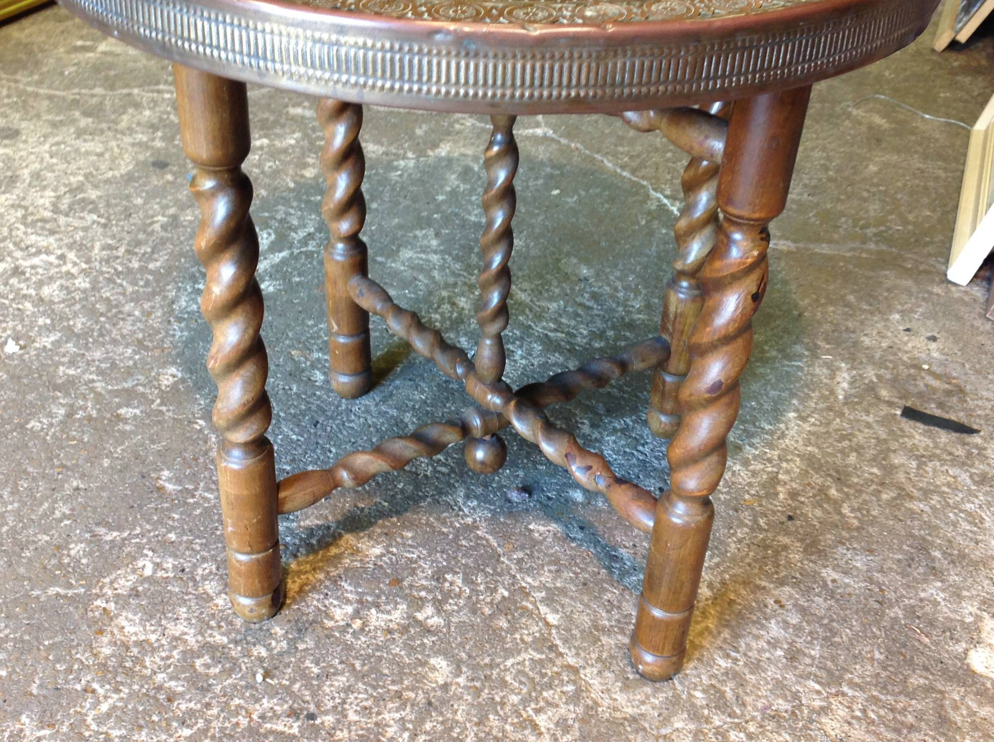 An oak brass eastern coffee table 60cm from p f windibank for Coffee table 60cm