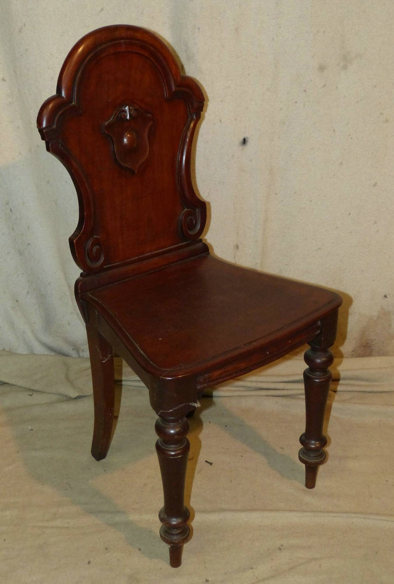 Merveilleux A 19th Century Mahogany Shield Back Hall Chair Having Solid Seat On Round  Turned Legs From P.F. Windibank .