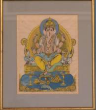 A Heightened Etching depicting a seated Elephant God,