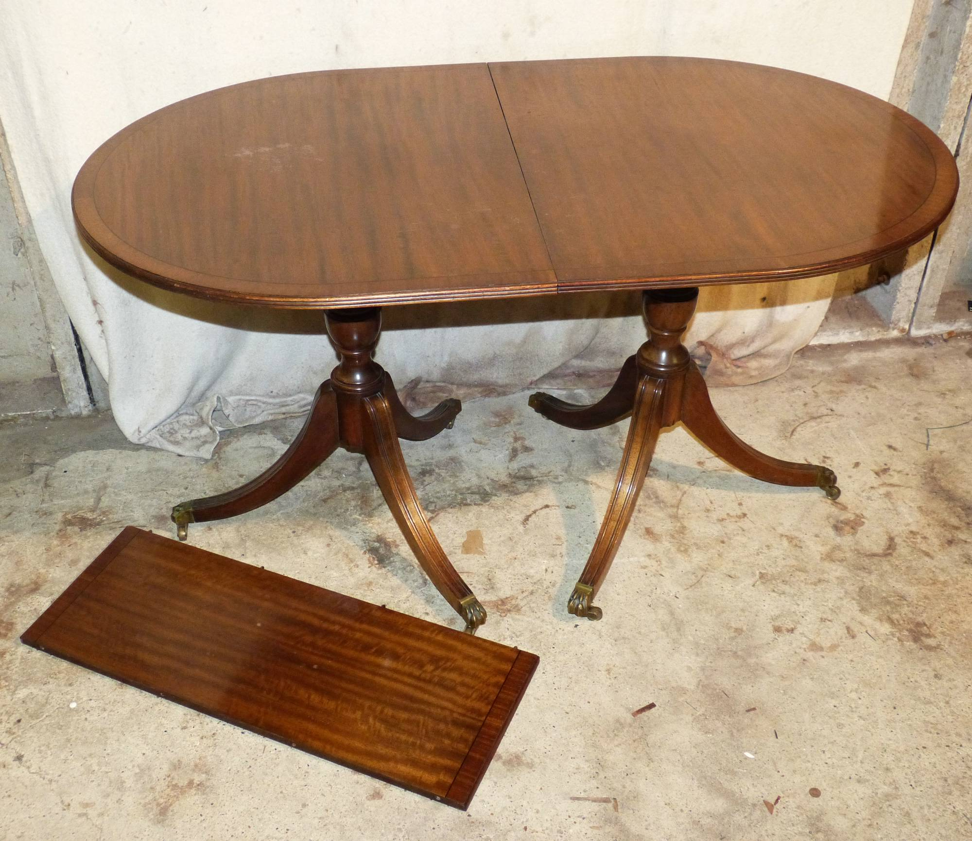 A Reproduction Mahogany D End Double Pedestal Dining Table From P F Windibank