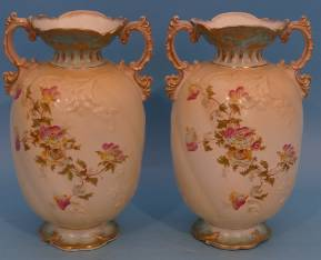 A Pair of Staffordshire Round Bulbous Thin Necked Trumpet Shaped 2 Handled Vases on cream and green ground, with multicoloured floral, leaf and gilt decoration, 31cm high.