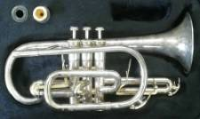 A Silvered Odyssey Premier Cornet Ocr900 cr1311006, cased